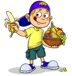 boy and fruits vector image