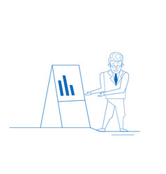 businessman near flip chart business man analytics vector image