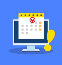 Calendar date as deadline notification on computer vector