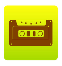cassette icon audio tape sign brown icon vector image