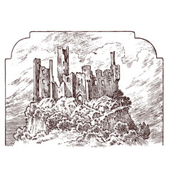 castle on a hill ancient landscape for label vector image