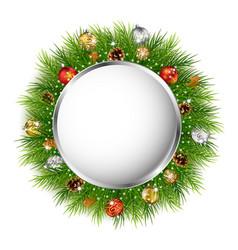 christmas greeting card with christmas wreath vector image