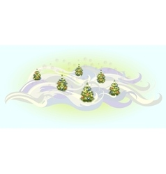 Christmas trees with balls EPS10 vector image
