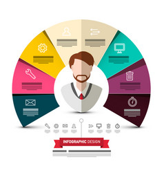 circle colorful papers infographic design with vector image
