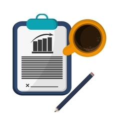 Clipboard contract pencil cup coffee vector