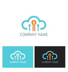 cloud connect technology company logo vector image vector image