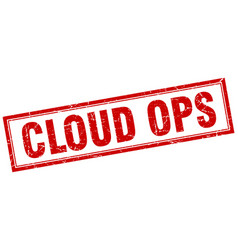 Cloud ops square stamp vector
