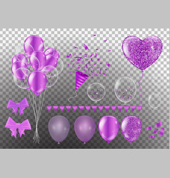 confetti and set purple ribbons bunch of birthday vector image
