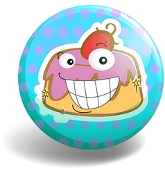 Cupcake on round badge vector image