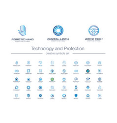 digital technology and protection creative symbols vector image