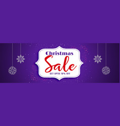 elegant christmas sale purple banner design vector image