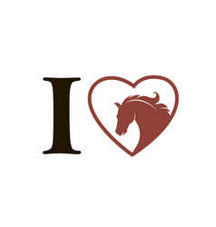 emblem horse in heart vector image