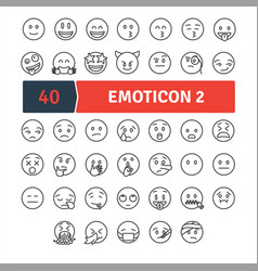 Emoticons thin line pack vector