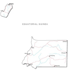 Equatorial Guinea Black White Map vector image