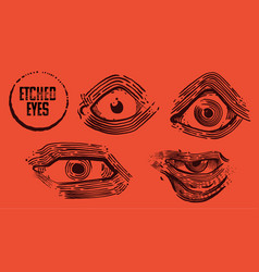 etched eyes hand drawn elements vector image