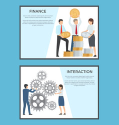 finance and interaction collection of banners vector image