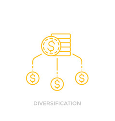 Financial diversification line icon with coins vector