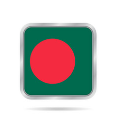 flag of bangladesh metallic gray square button vector image