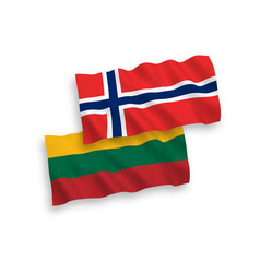 flags of lithuania and norway on a white vector image