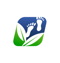 foot massage herbal logo design template vector image