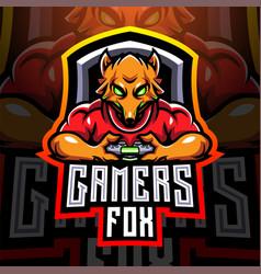 fox gamers esport holding game-pad joystick vector image