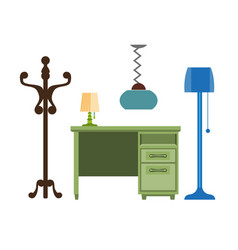 Furniture pieces living room lamp hanger chest vector