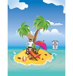 Girl on Tropical Island vector image