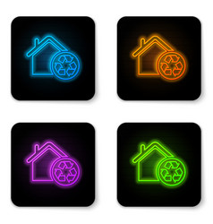 glowing neon eco house with recycling symbol icon vector image