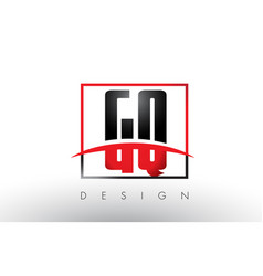 Gq g q logo letters with red and black colors vector