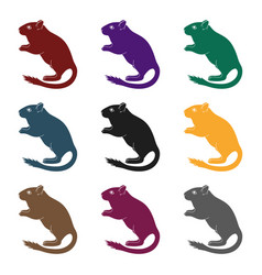 Gray gerbilanimals single icon in black style vector