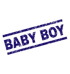 grunge textured baby boy stamp seal vector image