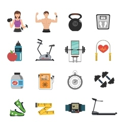 Gym icon flat set vector