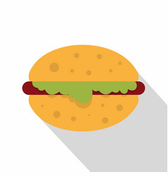 hamburger with salad icon flat style vector image
