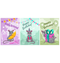 happy birthday cute greeting cards with vector image