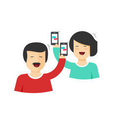 Happy couple man and woman holding mobile phones vector