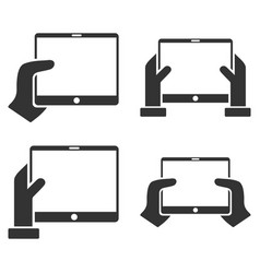 Hold mobile tab with hands flat icon set vector