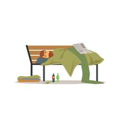 Homeless man character sleeping on a park bench vector