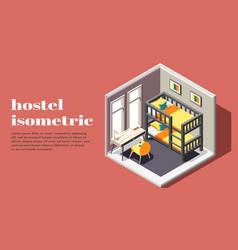 Hostel room isometric poster vector