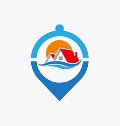 house locate place logo design template vector image