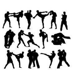 Judo and thay boxing silhouettes vector