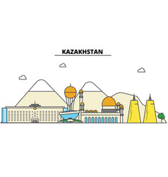 kazakhstan city skyline architecture buildings vector image