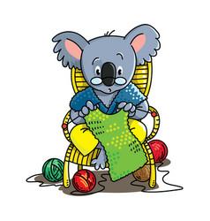 koala bear knitter abc alphabet k vector image