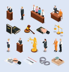law justice isometric icons vector image