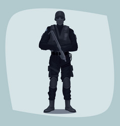 Man of specialized tactical team vector