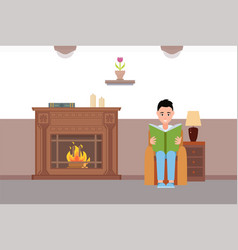 Man reading book sitting by fireplace at home vector