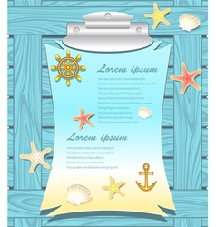 Marine frame with anchor wheel shells starfishes vector image