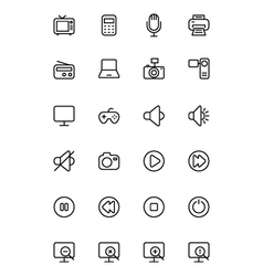 Media Line Icons 1 vector image