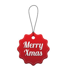 Merry Xmas Red stitched tag vector image