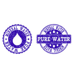 mineral water pure water grunge stamp seals vector image