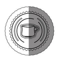 Monochrome sticker round frame with porcelain mug vector